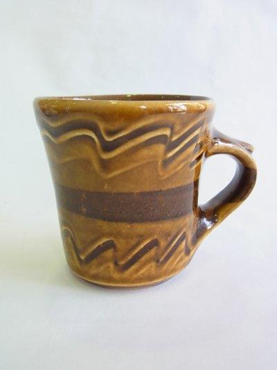 画像1: 山根窯 飴釉スリップウェア マグカップ