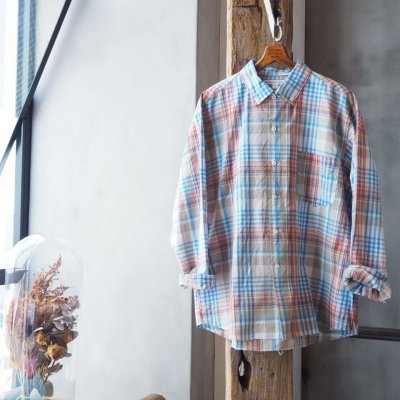 画像3: SUNSHINE+CLOUD ニューウエストボタンダウンマドラスチェックシャツ