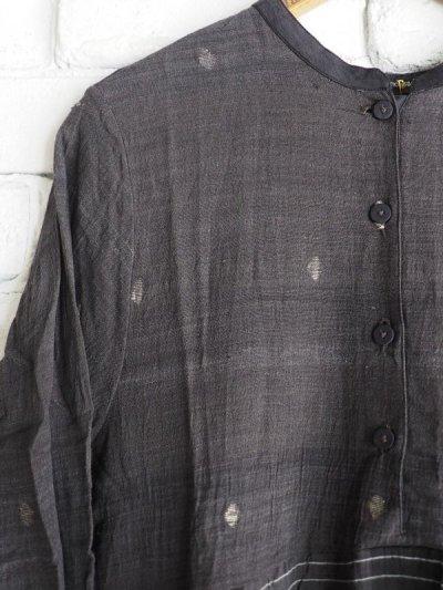 画像2: maku textiles クレープコットンジャムダニ横縞ワンピース G1833