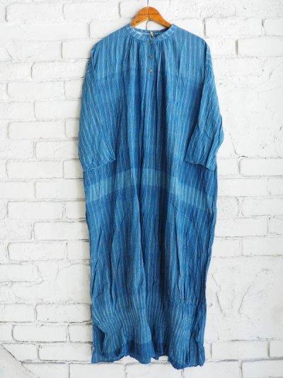 画像1: maku textiles 藍染クレープコットンワンピース G1919