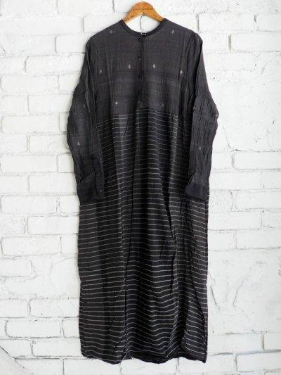 画像1: maku textiles クレープコットンジャムダニ横縞ワンピース G1833