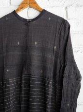 画像4: maku textiles クレープコットンジャムダニ横縞ワンピース G1833 (4)