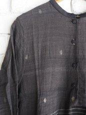画像2: maku textiles クレープコットンジャムダニ横縞ワンピース G1833 (2)