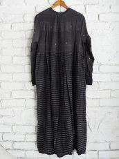 画像6: maku textiles クレープコットンジャムダニ横縞ワンピース G1833 (6)