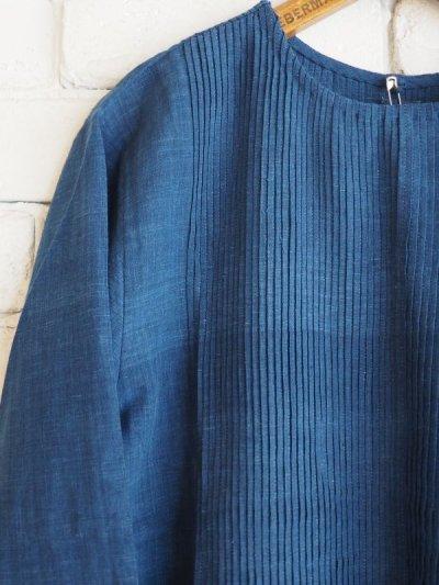 画像2: maku textiles インディゴ染めカディーピンタックワンピース G1659