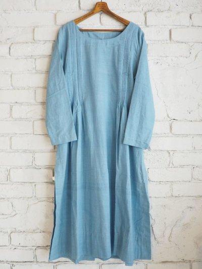 画像1: maku textiles インディゴ染めカディーピンタックワンピース G1656