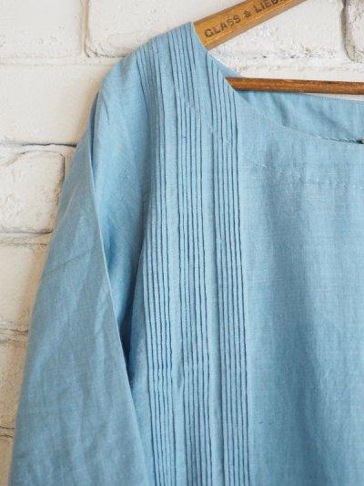 画像2: maku textiles インディゴ染めカディーピンタックワンピース G1656