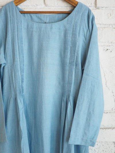 画像3: maku textiles インディゴ染めカディーピンタックワンピース G1656