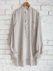 画像1: COMOLI シルク プルオーバーバンドカラーシャツ (1)