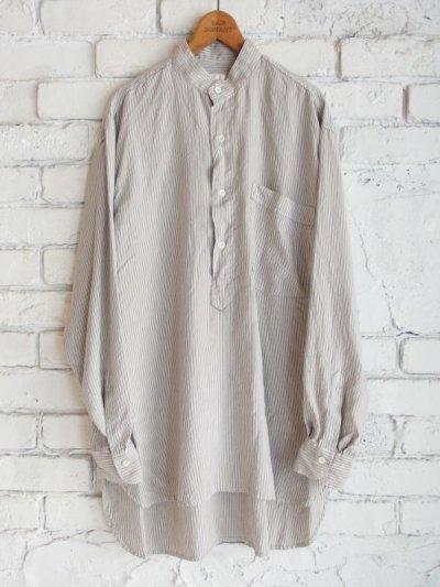 画像1: COMOLI シルク プルオーバーバンドカラーシャツ