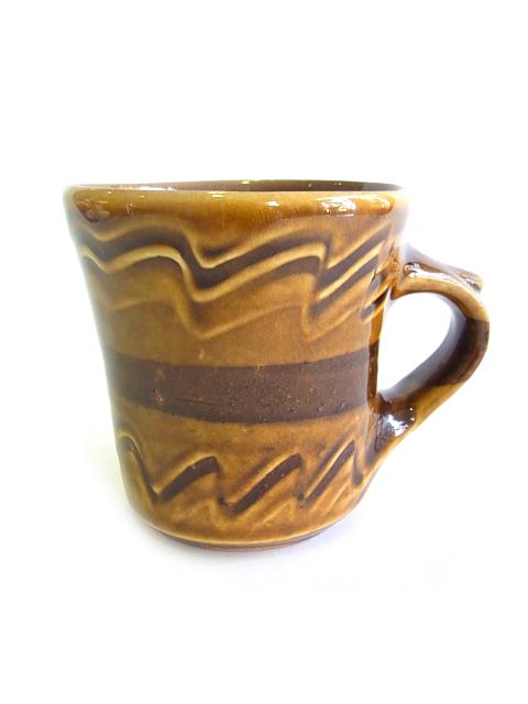 画像1: 山根窯 飴釉スリップウェア マグカップ (1)