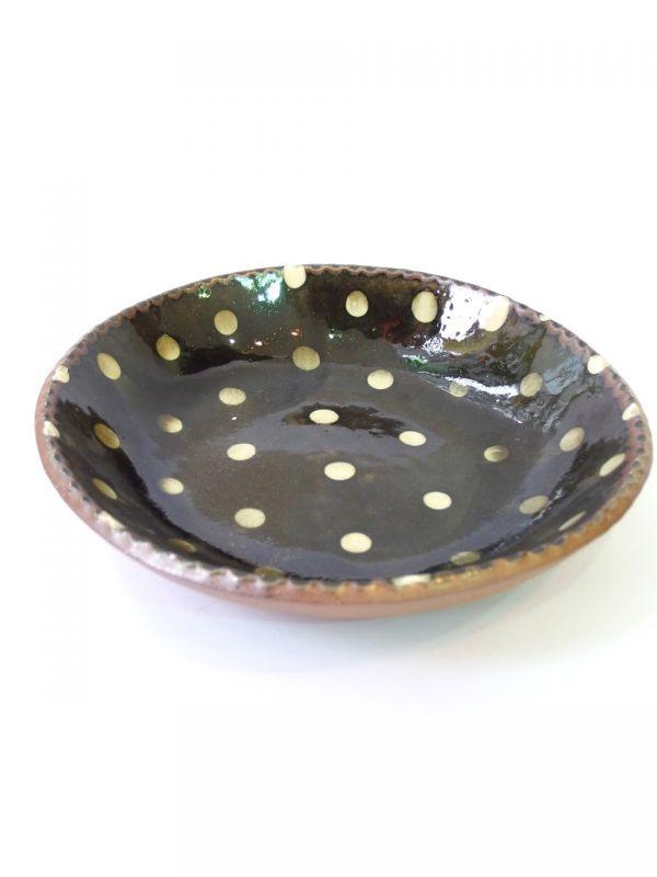 画像1: 山根窯 灰釉スリップウェア大鉢 (1)
