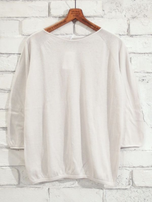 画像1: F/style ホールガーメントの綿ニット/丸首・七分袖 (1)