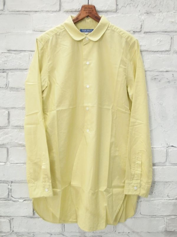 画像1: ●SEA SALT  ボタニカルコットン ラウンドカラーロングシャツ (1)