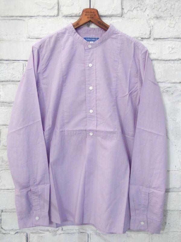画像1: ●SEA SALT  ボタニカルコットン ノーカラーシャツ (1)
