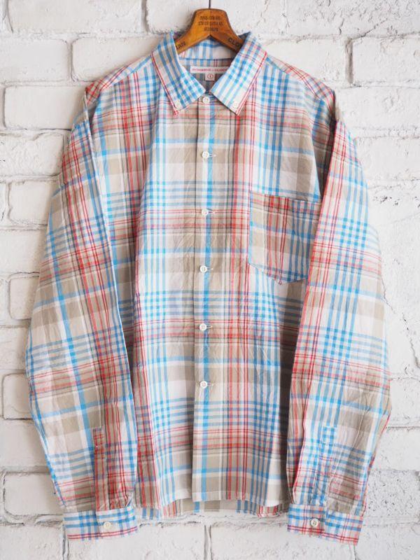 画像1: SUNSHINE+CLOUD ニューウエストボタンダウンマドラスチェックシャツ (1)