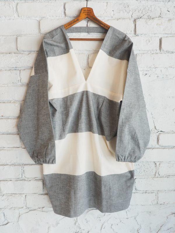 画像1: ● F/style 亀田縞のかっぽう着 (1)