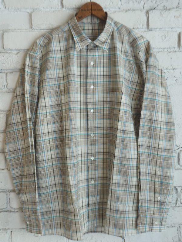 画像1: AURALEE スーパーライトウールチェックシャツ (1)