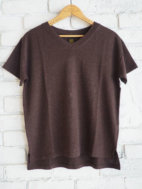 画像1: BATONER 【WOMEN'S】 スイートリネンVネック半袖Tシャツ (1)