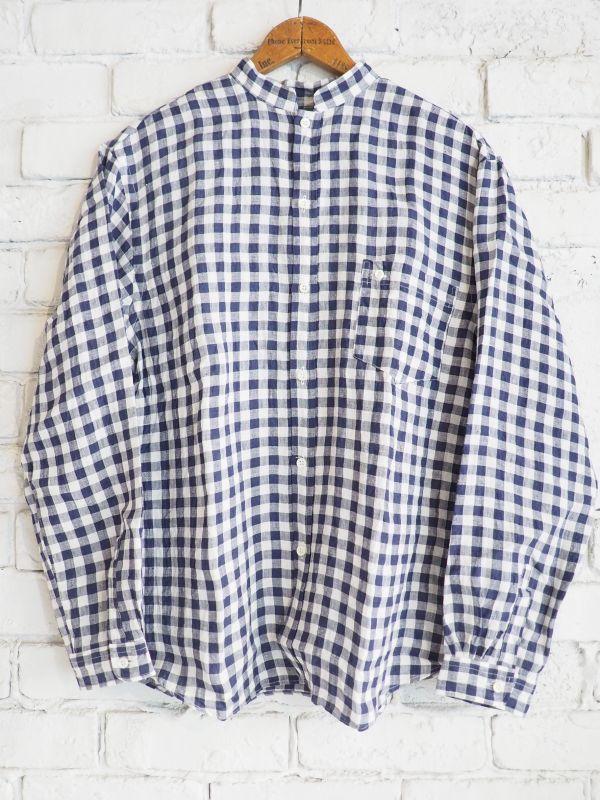 画像1: SUNSHINE+CLOUD オープンスタンダ ナチュラルリネンギンガムチェックシャツ (1)