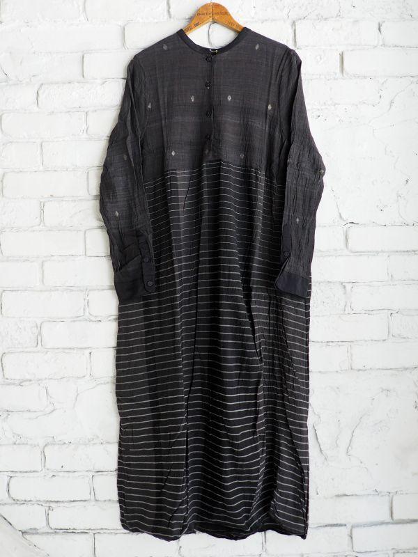 画像1: maku textiles クレープコットンジャムダニ横縞ワンピース G1833 (1)