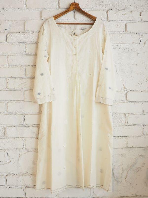 画像1: maku textiles ジャムダニラウンドネックチュニックドレス G1721 (1)