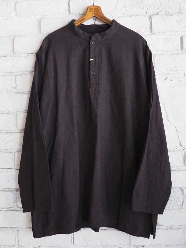 画像1: YAECA (19130) 別注ログウッド染め カディコットンクルタシャツ (1)