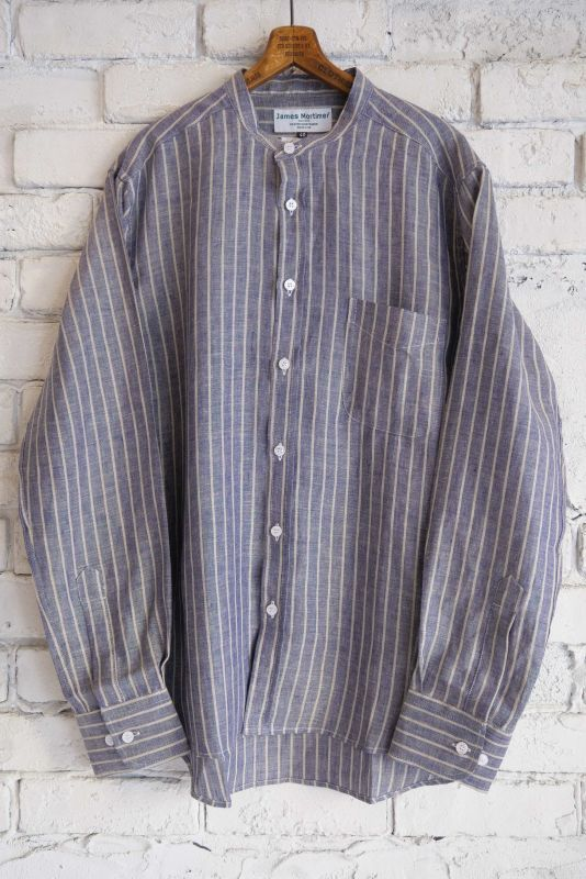 画像1: James Mortimer  アイリッシュリネンバンドカラーシャツ (1)