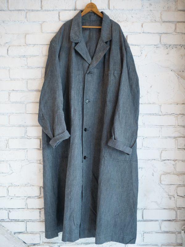 画像1: DEADSTOCK 50's FRENCH WORK BLACK CHAMBRAY COAT デッドストック 50年代 フレンチワーク ブラックシャンブレーコート (1)