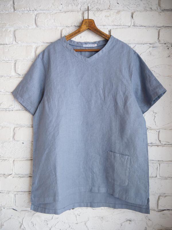 画像1: SUNSHINE+CLOUD リネンVネックTシャツ (1)